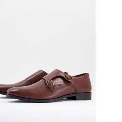 エイソス メンズ ブーツ・レインブーツ シューズ ASOS DESIGN monk shoe in brown leather Brown