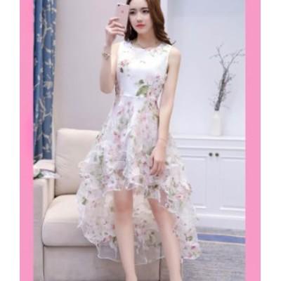 アシンメトリー ドレス 花柄 ノースリーブ お呼ばれ 白 秋物 冬物 最新 レディース ファッション 2020 人気 可愛い 大人