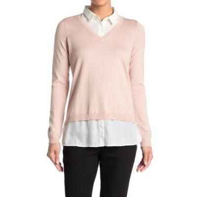 アドリアナ パペル レディース ニット&セーター アウター V-Neck Twofer Sweater PERLBLSIVY