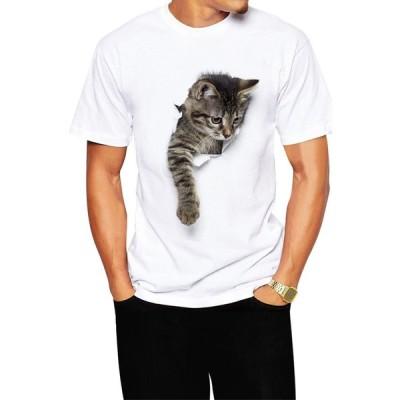 メンズTシャツ 猫 Tシャツ メンズ 白 おもしろ 服 かわいい ネコ柄 トリックアート 風 半袖 シャツ (ポリエステル ドライ)