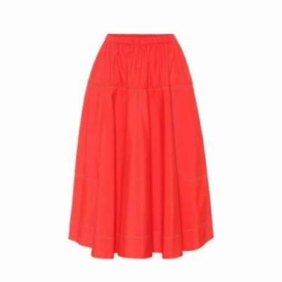 マルニ ひざ丈スカート Cotton midi skirt Red