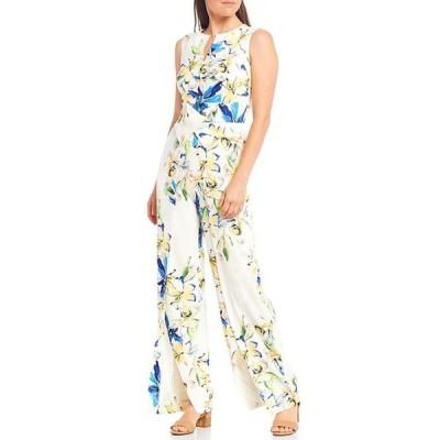 アレックスマリー レディース ワンピース トップス Barbara Floral Printed Split Round Neck Jumpsuit