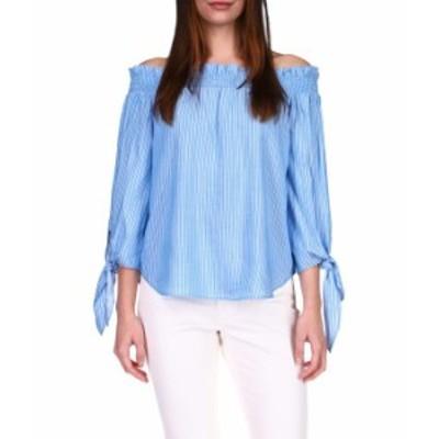 マイケルコース レディース シャツ トップス Lurex Stripe Off Shoulder Top Bright Cyan Blu