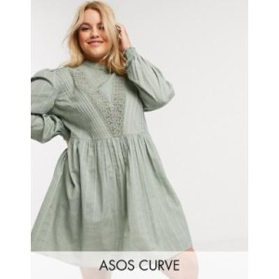 エイソス レディース ワンピース トップス ASOS DESIGN Curve high neck mini smock dress with lace inserts in khaki Khaki