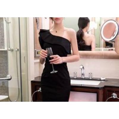 ドレス ワンピース ノースリーブ ワンショルダー 20代 ブラック レッド スリット 上品 春夏 結婚式 お呼ばれ a428