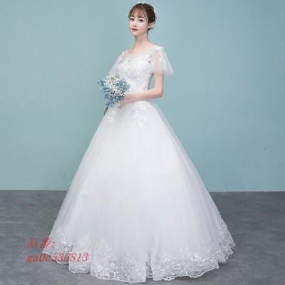 ウェディングドレス ウェディングドレス白 パーティードレス パフスリーブ 可愛いレース 花嫁ロングドレス ウェディング 挙式 結婚式 二次会 謝恩会