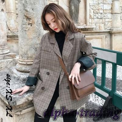 ブレザー チェック柄 ロング丈ブレザー スーツ ゆったり 長袖 大きいサイズ 着痩せ レディース 通勤 春秋 韓国風 スーツジャケット きれいめ カジュアルウエア