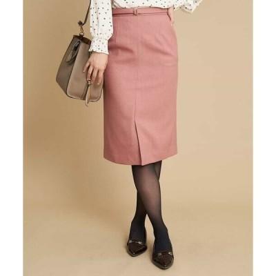 OFUON / オフオン 【洗濯機で洗える】ベルト付きナロースカート