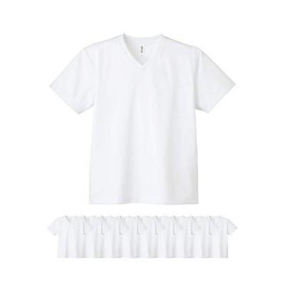 (グリマー)glimmer 00337-AVT 4.4オンス ドライ VネックTシャツ 10枚セット メンズ (ホワイトS)