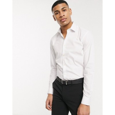 フレンチコネクション French Connection メンズ シャツ トップス plain poplin slim fit shirt ホワイト