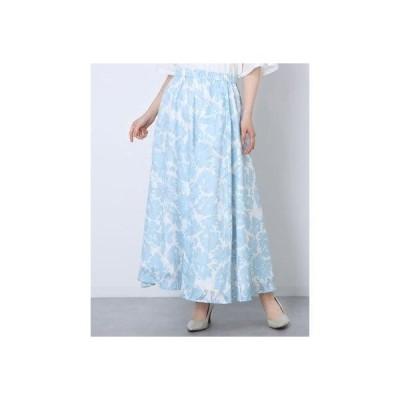 ルゥデ Rewde フラワージャガードプリントロングスカート(1R10-04209) (ブルー)