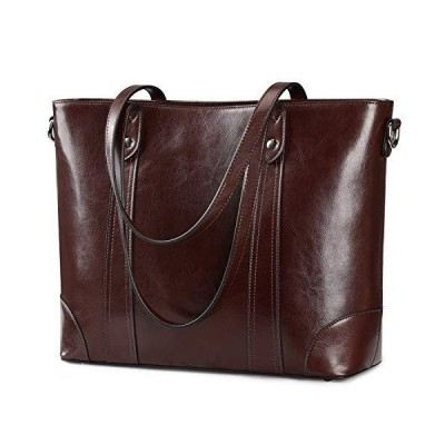 "S-ZONE 15.6"" Leather Laptop Bag for Women Shoulder Bag Large Work Tote with Padded Compartment 並行輸入品"