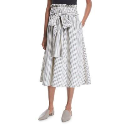 ロゼッタ・ゲッティ レディース スカート ボトムス Wrap-Panel Striped Poplin Flared Midi Skirt