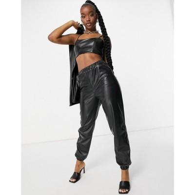 エイソス ASOS DESIGN レディース ジョガーパンツ ボトムス・パンツ jersey leather look suit jogger in black ブラック