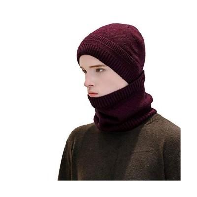 冬用ビーニー帽スカーフ2点セット 男女兼用 暖かいニット帽 厚手のフリース裏地 冬用キャップスカーフ US サイズ: One Size カラー: パー