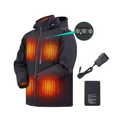ARRIS 電熱ジャケット 充電式ヒートコート 加熱服 ヒーティング 登山服 電熱ウェア 5段温度調整 発熱ゾーン別々に制御 防寒着 7.4Vバッテリ