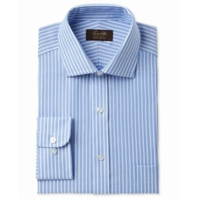 ファッション ドレス Tasso Elba NEW Blue Mens Size 16 1/2 Striped Regular Fit Dress Shirt