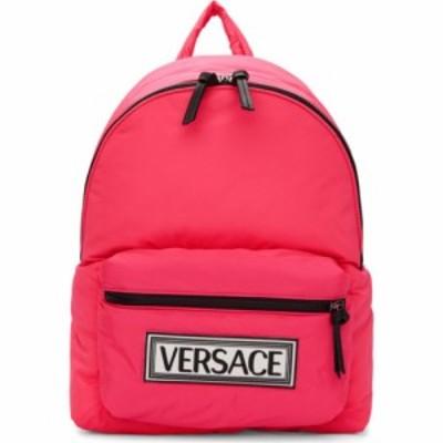ヴェルサーチ Versace メンズ バックパック・リュック バッグ Pink Logo Backpack Lipstick/Palladium
