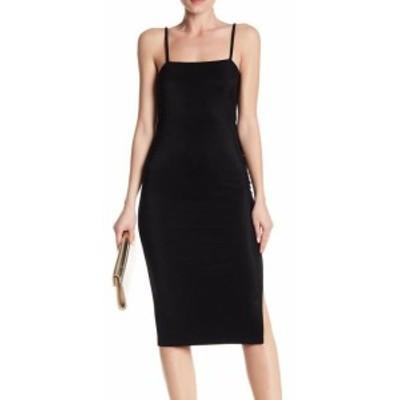 ファッション ドレス Free Press NEW Black Womens Size XS Ribbed Side Slit Bandage Dress
