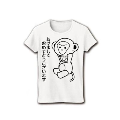 「あけましておめでとうございます」着ぐるみバイトさる リブクルーネックTシャツ(ホワイト)