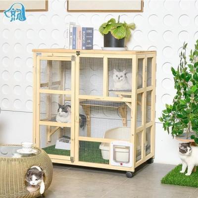 猫 キャットタワー ペット 上下運動でストレス解消キャットケージ3段 ナチュラル(木製)猫ケージ YYRA724