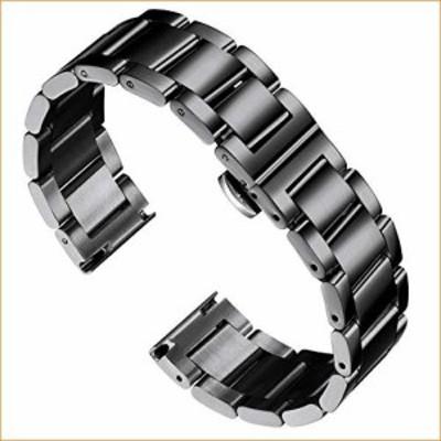 BINLUN 厚手ステンレススチール腕時計バンド メタルヘビーウォッチブレスレット 光沢マット
