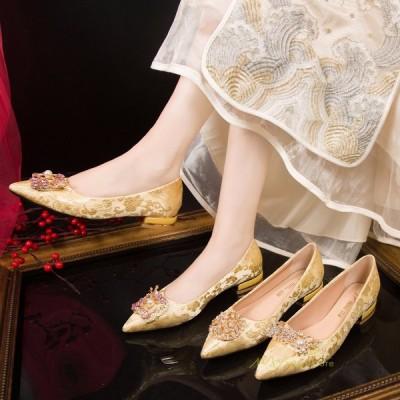 ローヒール 太めヒール 美脚パンプス レディースシューズ ポインテッドトゥ ブライダルシューズ 疲れない 痛くない 靴 履きやすい パーティー 結婚式 おしゃれ