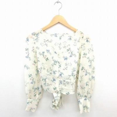 【中古】フーズフーチコ シャツ ブラウス ノーカラー 花柄 ウエストリボン 透け感 長袖 アイボリー グリーン