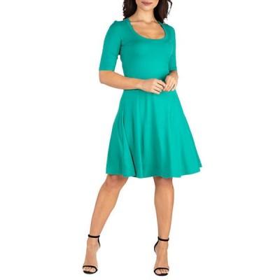 24セブンコンフォート レディース ワンピース トップス Elbow Sleeve Knee Length Dress