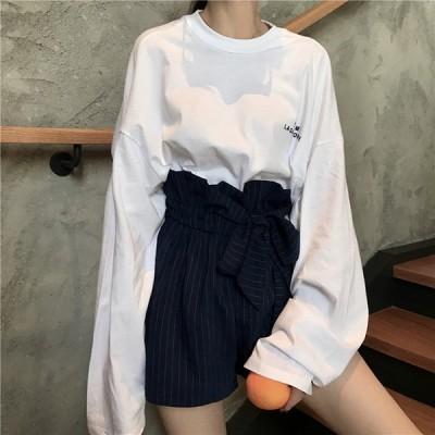 カットソー Tシャツ 春 春夏 夏 レディース トップス 長袖 ロンティ ロンT 大きいサイズ 韓国 ファッション 無地 シンプル ゆったり 送料無料 158902