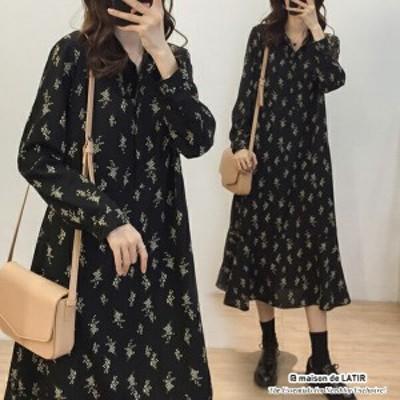 レディースワンピース 小花柄ワンピース ワンピ  ロングワンピース トップス 普段着 シンプル 大人っぽい 可愛い ドレス シフォン