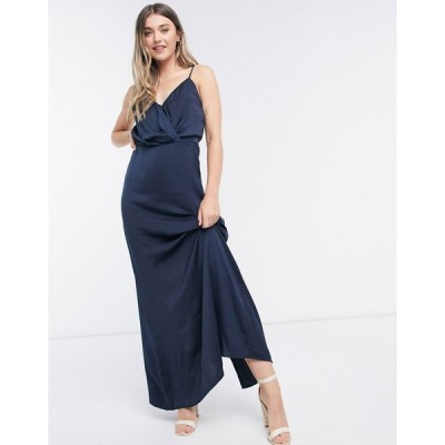 ヴィラ ミディドレス レディース Vila cowl front maxi dress in navy エイソス ASOS