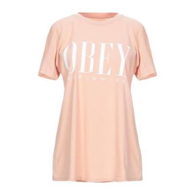 OBEY Tシャツ ファッション  レディースファッション  トップス  Tシャツ、カットソー  半袖 ローズピンク