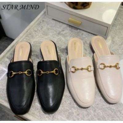 【送料無料】金具 ビット ミュール サンダル ローヒール ぺたんこ 上品 韓国 靴 大きいサイズ