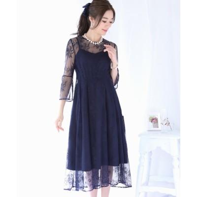 【ブルーイースト】 袖付きウエストタック総レースフレアードレス ドレス レディース ネイビー M(01) BLUEEAST