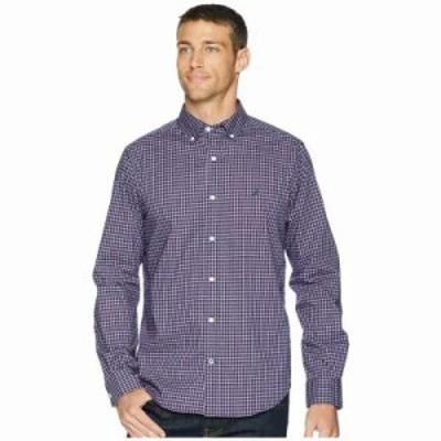 ノーティカ シャツ Long Sleeve Wear to Work Mini Plaid Woven Shirt J Navy