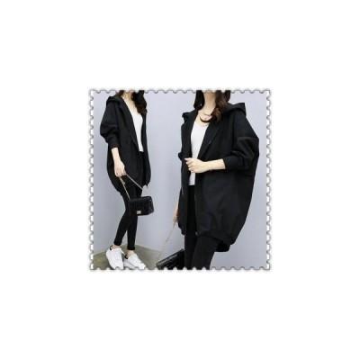 スプリングコートレディーストレンチコートフード付き秋春痩せロングカジュアルアウター20代30代40代50代ファッション