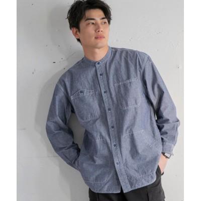 (coen/コーエン)バンドカラーワークシャツジャケット/メンズ NAVY