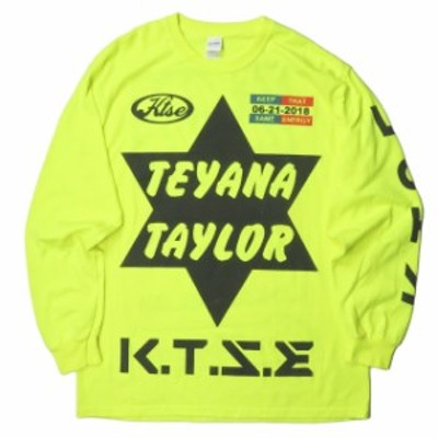 TEYANA TAYLOR テヤナ・テイラー K.T.S.E. L/S T-SHIRT プリントロングスリーブTシャツ L イエロー 長袖 トップス