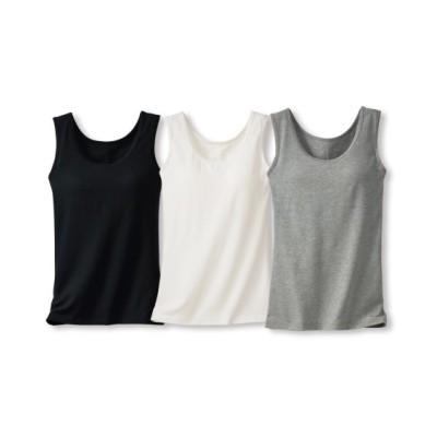 綿混ブラトップタンクトップ3枚組(L) (ブラトップ・カップ付インナー)Camisole