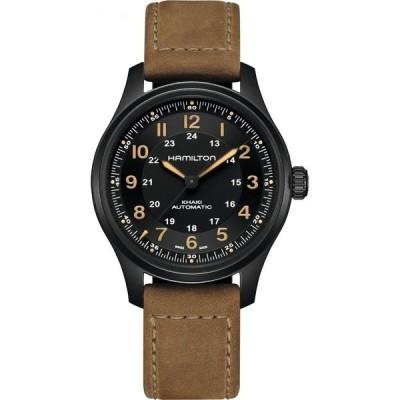 ハミルトン HAMILTON メンズ 腕時計 Khaki Field Titanium Automatic Leather Bracelet Watch, 42mm Black