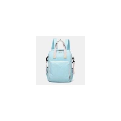 [Blue]女性の大容量カジュアルパッチワーク純色防水バックパック