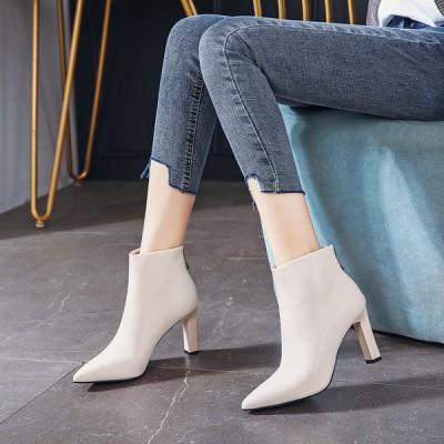 ブーツ シューズ 靴 レディース ショートブーツ ヒール高さ8cm 後ろファスナー オフィス デート 女子会