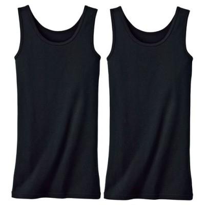 お腹&腰回りをカバー!ロング丈タンクトップ(2枚組・綿100%)/ブラック/L