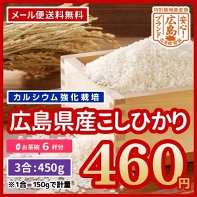 米 送料無料 広島県産 特別栽培米 カルゲン米 コシヒカリ 令和2年産 お試し 450g 3合 ポイント消化 ※メール便のため代引・日時指定不可