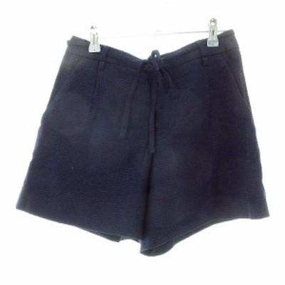【中古】トゥモローランドコレクション パンツ ショート ショーパン シルク混 総柄 36 青 ブルー /M2 レディース