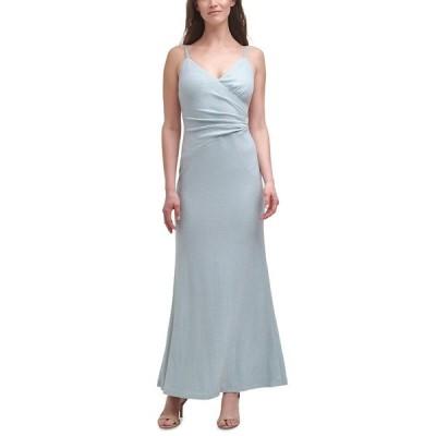 エリザジェイ ワンピース トップス レディース Metallic Knit Mermaid Gown Sky Blue