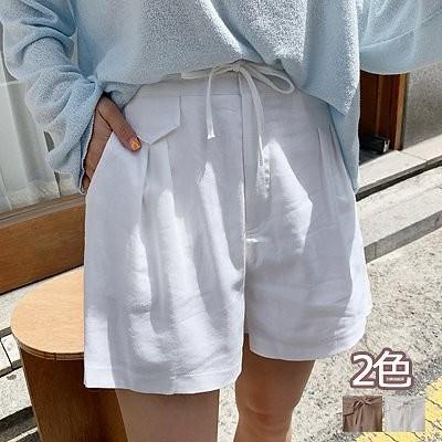 ENVYLOOK韓国ファッションカジュアルECサイト1位 ENVYLOOKリネン混ウエストリボンバックゴムショートパンツ2COLOR送料無料