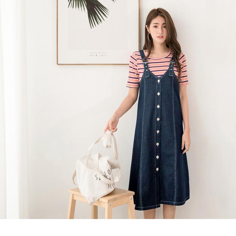 高含棉排釦牛仔調節吊帶長裙