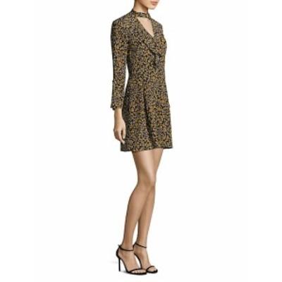 デレクラム レディース ワンピース Floral Cascade Bell-Sleeve Silk Choker Dress